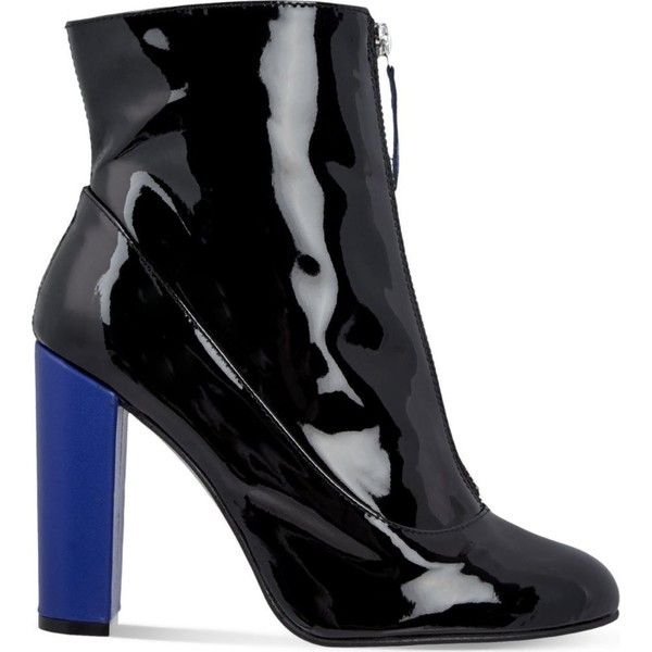 CARVELA Stephan patent-leather ankle boots (2.350 ARS) ❤ liked on Polyvore featuring shoes, boots, ankle booties, patent leather ankle boots, lined boots, block-heel ankle boots, short boots and zip front boots