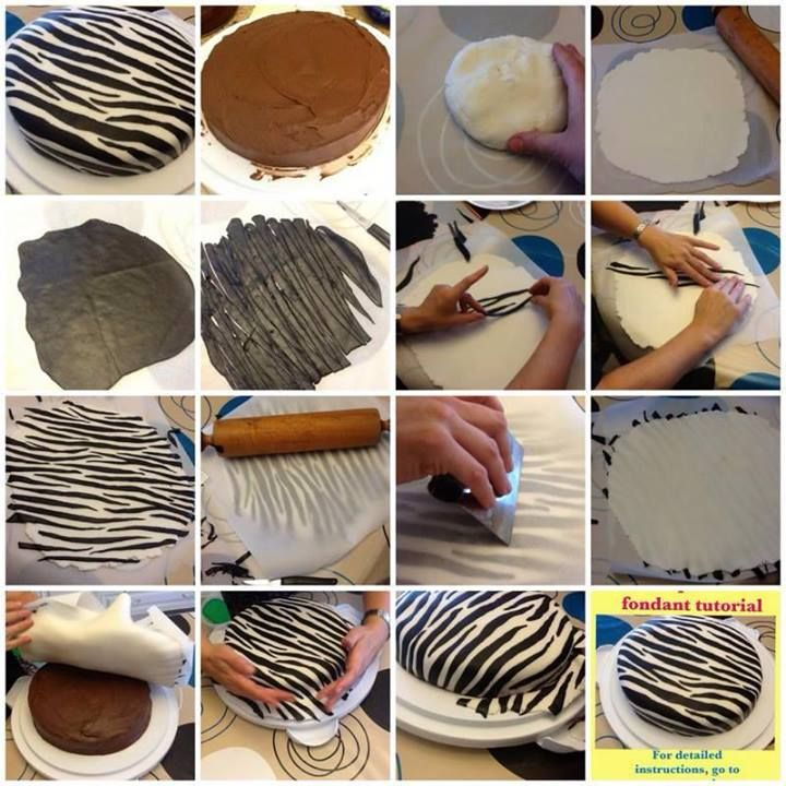 How to cover a cake with zebra fondant