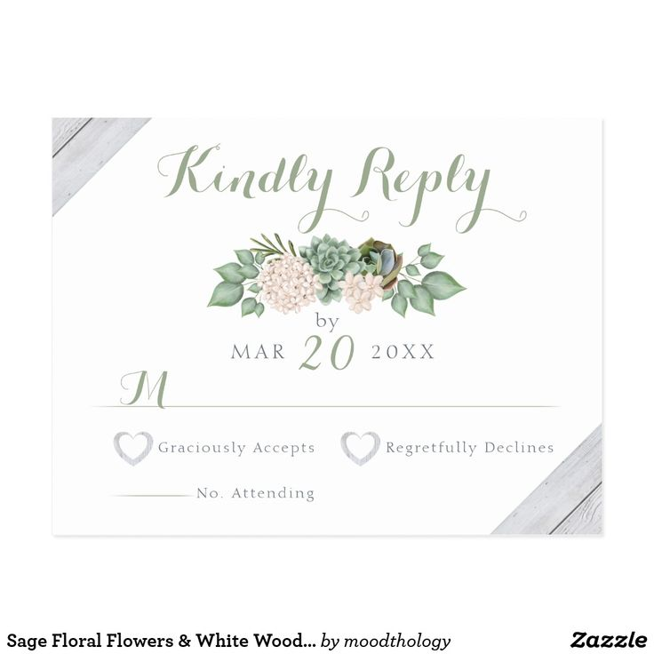 Sage Floral Flowers & White Wood Wedding RSVP Card