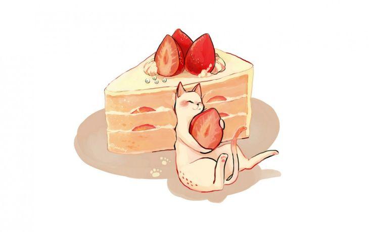 Скачать обои белый, котенок, клубника, торт, кусок, раздел аниме в разрешении 1680x1050