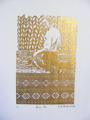 E A Hansen, Young Far, 2014, digital print with Gold leaf