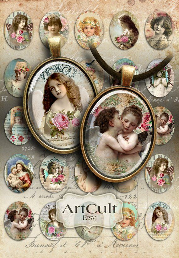INSTANT DOWNLOAD Digital Collage Sheet Ovals Vintage Art Deco and Victorian Romantic Silhouettes 30x40mm for pendants cameos brooches