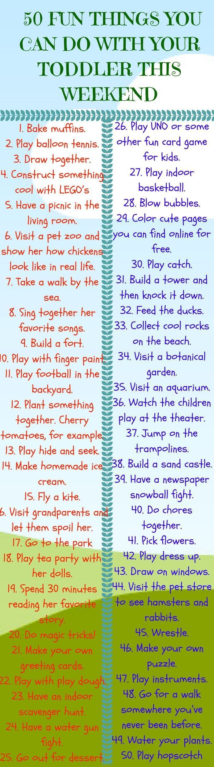 50 Fun Things You Can Do With Your Toddler This Weekend #parentingadviceboys