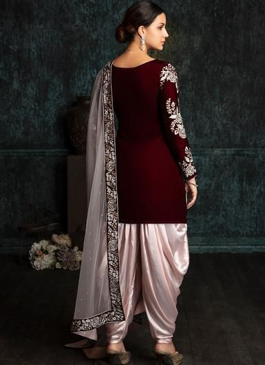 a3cc045fa84c Deep Maroon and Light Pink Velvet Punjabi Suit in 2019