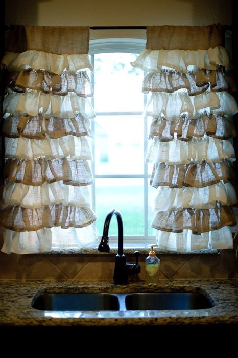 two tone burlap curtains: