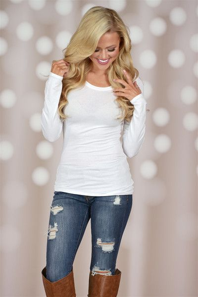 Crew Neck Long Sleeve Top - White from Closet Candy Boutique #fashion #show