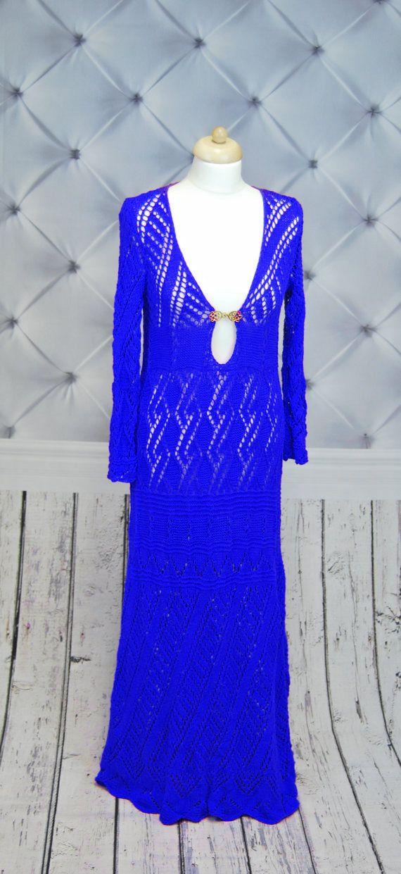 KNIT Wedding dress. Knitted maxi dress.Unique dress. Crochet boho dress. Lace crochet dress. Long sleeve dress. Bohemian dress by NinElDesign on Etsy