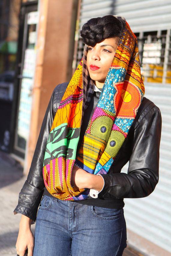 Reversible Circle Loop Patchwork Ankara Print Infinity Scarf ~Latest African Fashion, African Prints, African fashion styles, African clothing, Nigerian style, Ghanaian fashion, African women dresses, African Bags, African shoes, Nigerian fashion, Ankara, Kitenge, Aso okè, Kenté, brocade. ~DKK