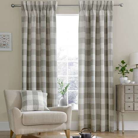 Skye Natural Lined Pencil Pleat Curtains | Dunelm