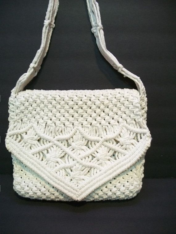 Vintage Heavy Macrame Bag Macrame Messenger Bag by GreenBeezArt, $18.99