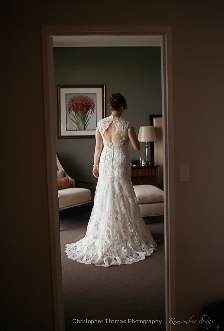 Brisbane Wedding Photographer - back of bride's dress, Christopher Thomas Photography