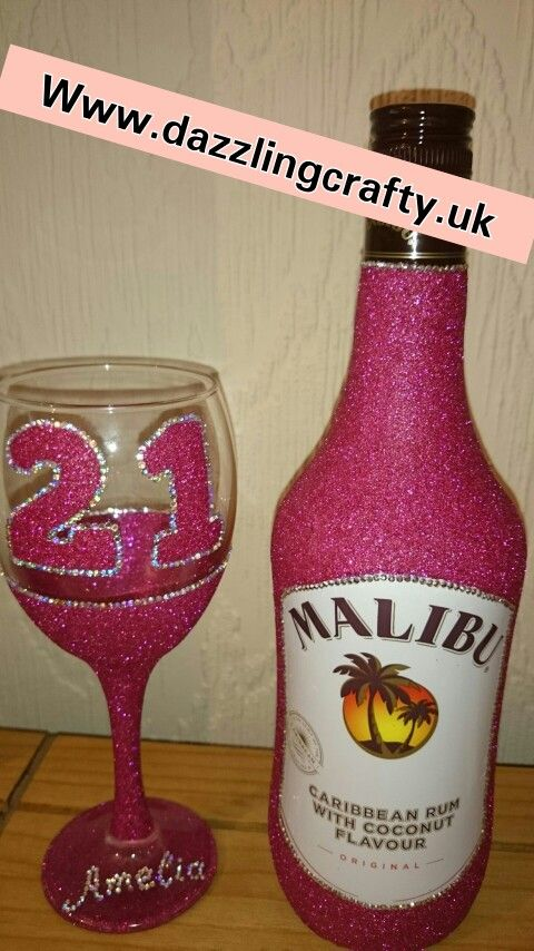 Raspberry Glitter malibu bottle gift set with a birthday glitter wine glass complete with personalisation. £25.00  Available from www.dazzlingcrafty.uk  https://m.facebook.com/dazzlingcraftycreationsglitterglasses