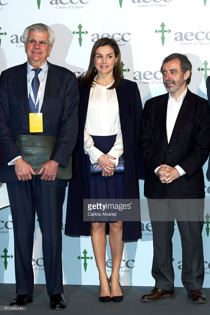 Queen Letizia of Spain (C) attends the VII Cancer Forum 'Por un Enfoque Integral' at the Reina Sofia Museum on February 1, 2018 in Madrid, Spain.
