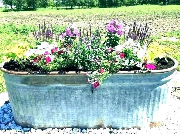 Galvanized Trough Planter Garden Metal Great Planters Horse With