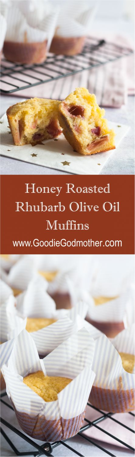 Honey roasted rhubarb olive oil muffins - lightly sweetened olive oil muffins are studded with tart sweet honey roasted bites of rhubarb.* Recipe on GoodieGodmother.com