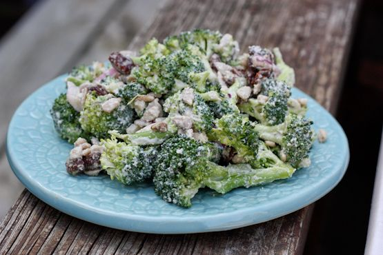 The Best Vegan Broccoli Raisin Salad with a creamy cashew dressing - I think I could get away with using almonds instead if cashews in this recipe