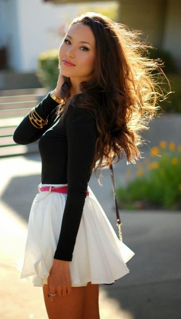 Black Sleeve Blouse And White Flowy Mini Skirt Fashion