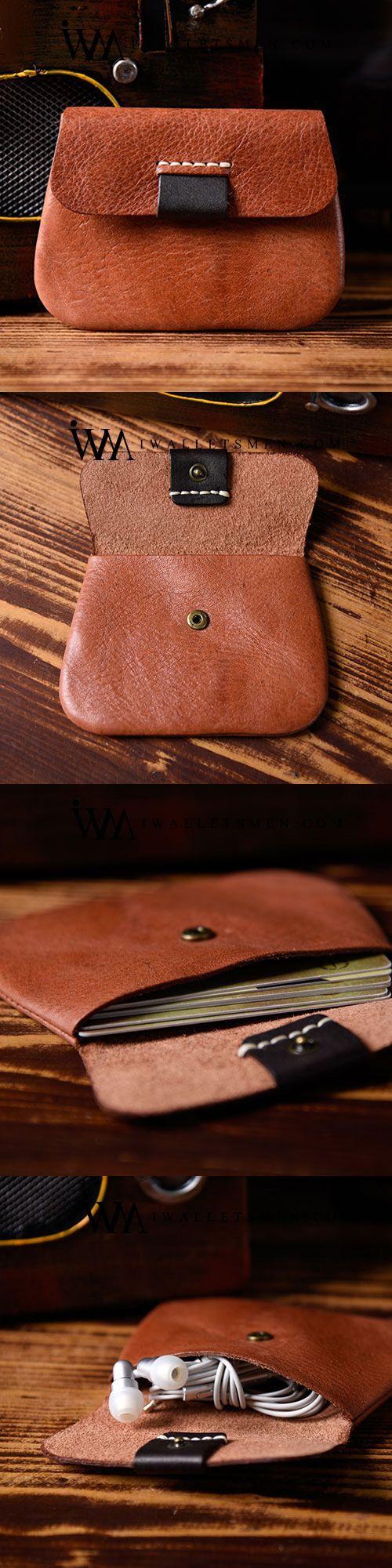 Handmade Mens Cool Short Leather Wallet Men Small Coin Slim Wallets Bifold for Men