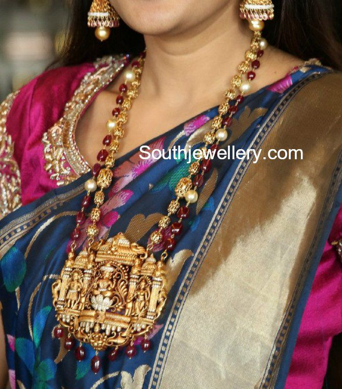 Nakshi Balls and Ruby Beads Haram with Temple Pendant photo