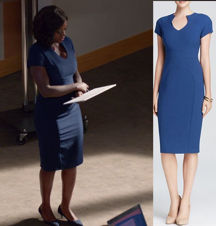 Annalise Keating's Blue Sheath Dress on How To Get Away With Murder