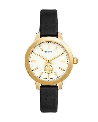 Collins+Black+Leather+Two-Hand+Watch+by+Tory+Burch+at+Neiman+Marcus.