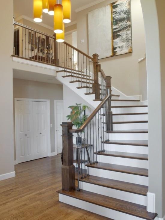 Minwax dark walnut on stairs, special walnut on floors