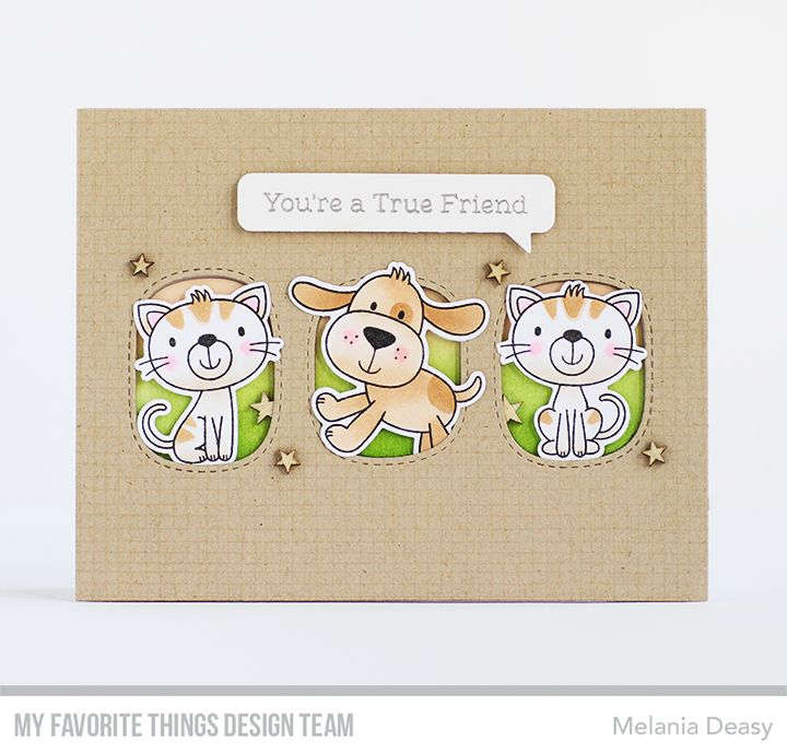 Stamps: Furever Friends Card Kit, Mesh Background Die-namics: Furever Friends Card Kit, Essential Speech Bubbles, Stitched Triple Peek-a-Boo Windows Melania Deasy #mftstamps