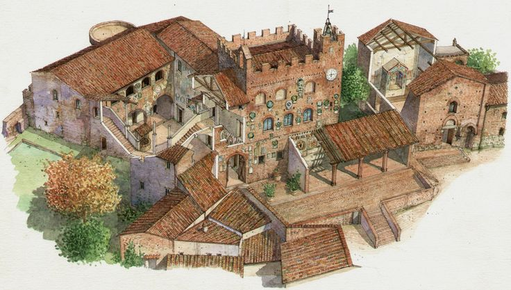 Another - and never tiresome - representation of the medieval village of Certaldo Alto, a lovely spot in Tuscany away from the crowds! Watercolour by Massimo Tosi. #certaldo #certaldoalto #tuscany www.hotelcertaldo.it