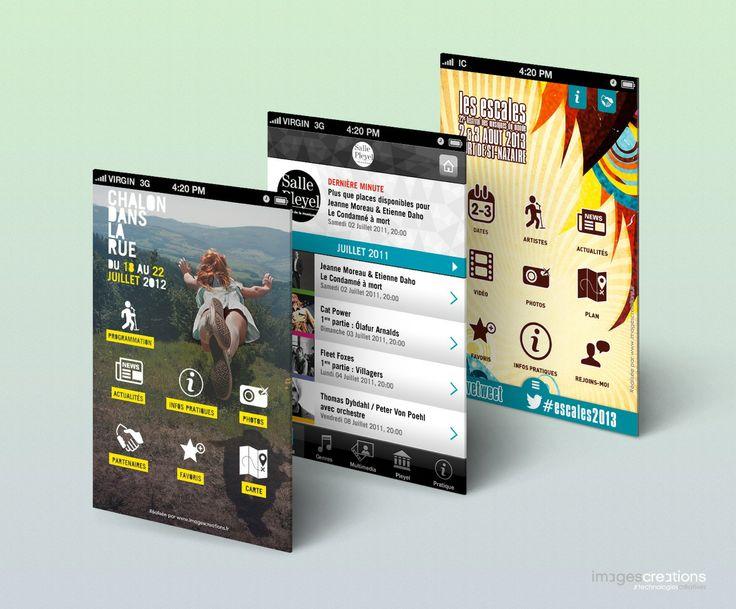 Applications mobiles et sites mobiles pour le monde culturel (Salle Pleyel, Festival Chalon dans la rue, Festival Les Escales, ...) | Réalisation agence Web & Mobile www.imagescreations)