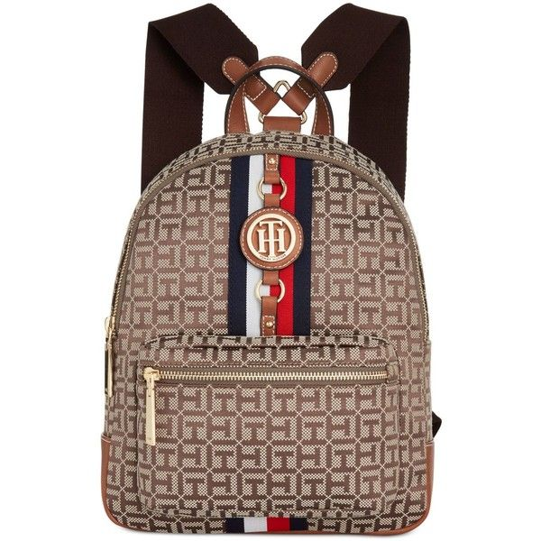 Tommy Hilfiger Jaden Monogram Jacquard Small Backpack ($89) ❤ liked on Polyvore featuring bags, backpacks, rucksack bags, daypack bag, tommy hilfiger, day pack backpack and knapsack bag