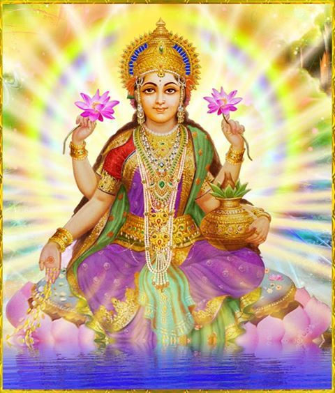 Lakshmi, The Lady of Abundance. always depicted on, or carrying a Lotus (or both)