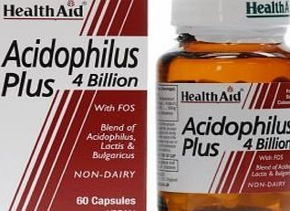 HealthAid Acidophilus Plus (4 Billion) Vegi Capsules (Health Aid) HealthAid are formulated using special strains of probiotics cultures on a diary free medium. Fructo-Oligosaccharides help to support the growth and proliferation of bacterial strains in the intestina http://www.comparestoreprices.co.uk/december-2016-week-1-b/healthaid-acidophilus-plus-4-billion-vegi-capsules-health-aid-.asp