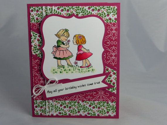 This handmade birthday card features a stamped image of two little girls. It was created using Stampin Ups Little Friends stamp set and colored with Copic markers. The greeting, May all your birthday wishes come true was electronically created. Stampin Up and other companies products were used to create this card.  Size: Approx. 4.25 x 5.5  Back: Contains Stampin' Up logo on back of card per their Angel Policy, as well as my company information..  Inside: Blank for you to include your own…
