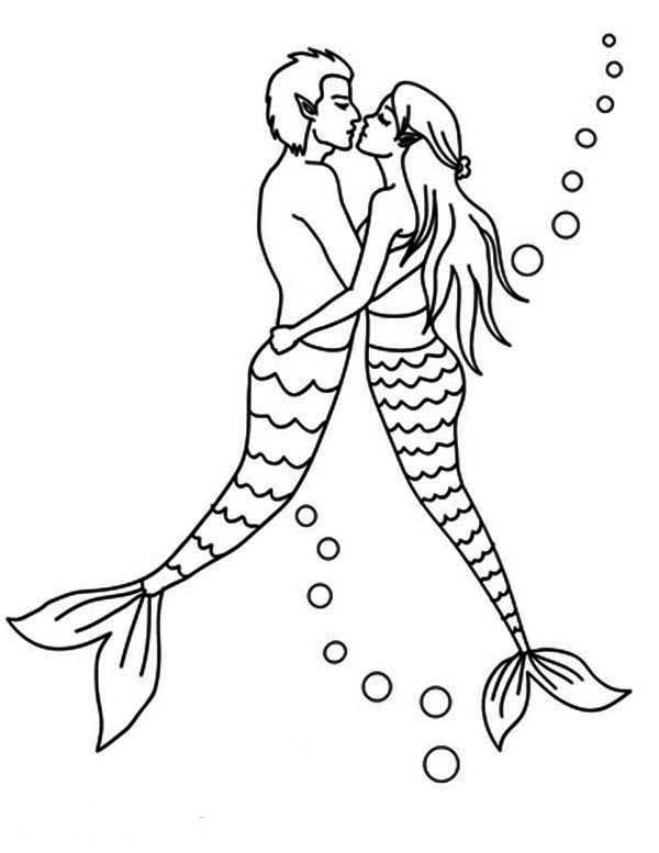 Mermaid Couple Kissing Coloring Pages Mermaid Coloring Pages Mandala Coloring Pages Coloring Pages