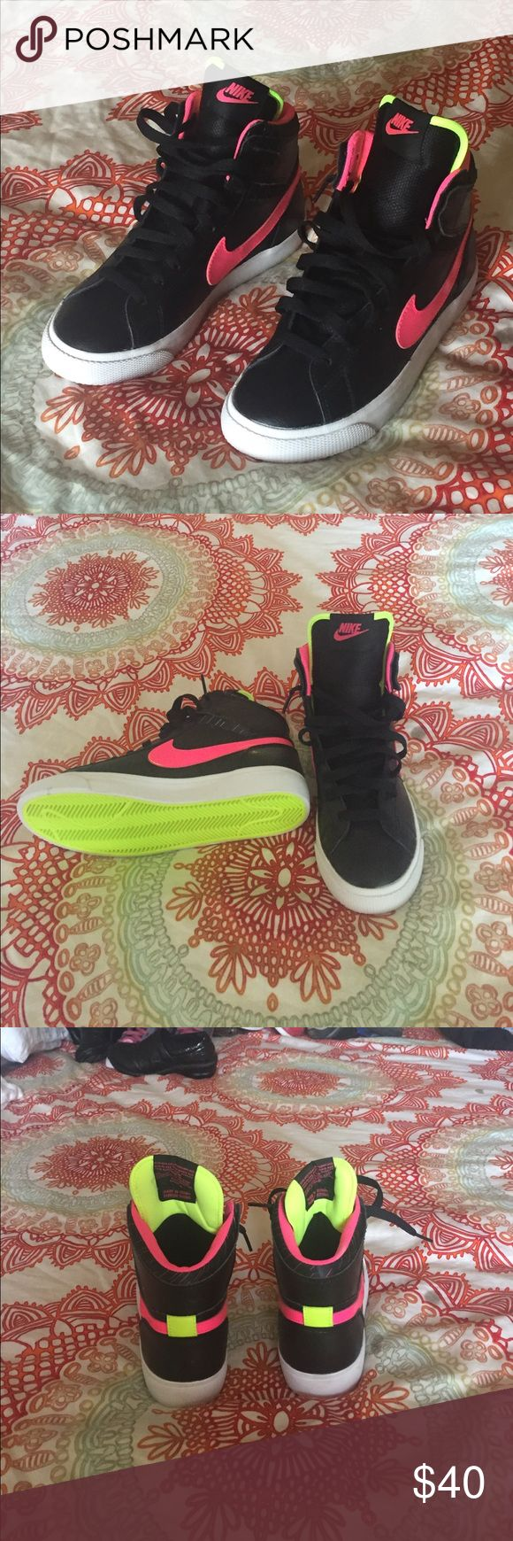 Nike high top sneaker Size: 5 / never worn / neon pink / neon green / black Nike Shoes Sneakers