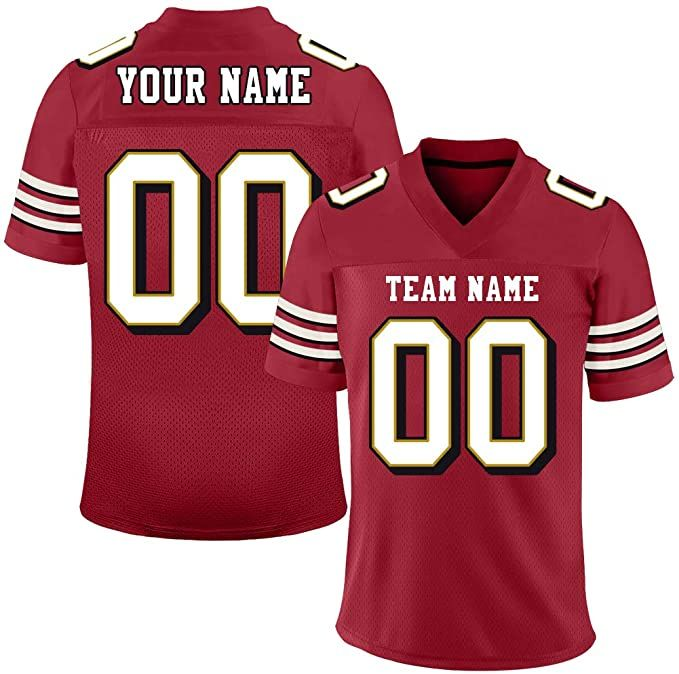 Custom Personalized Football Jersey Team Uniforms Printed Stitched Design Team Name Number Red In 2020 Personalized Football Team Uniforms Football Jerseys