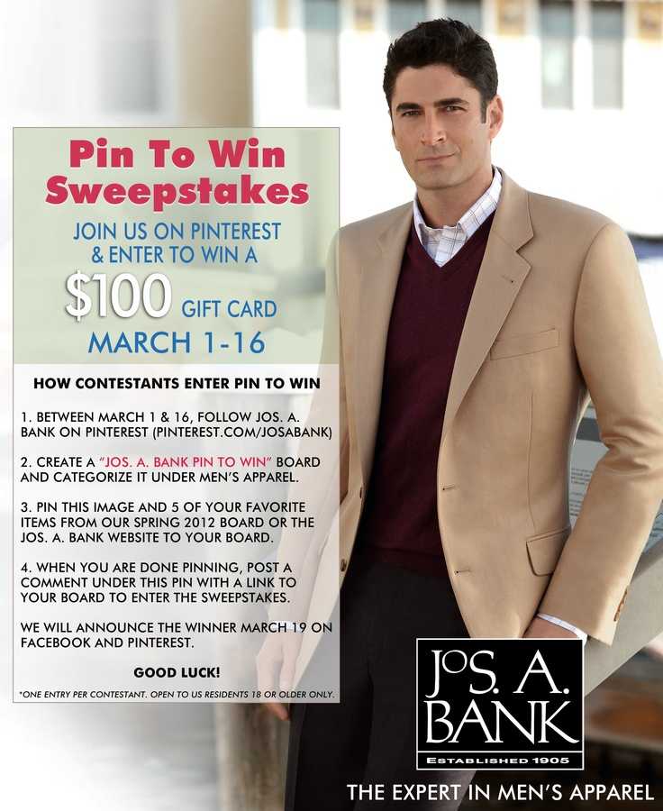 Click Through To Learn How To Enter The Jos A Bank Pin To Win Sweepstakes.