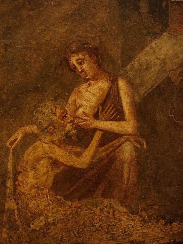 Affresco romano - Pompei - Romana carità, Micon e Pero (IV stile). Napoli, Museo Archeologico Nazionale.