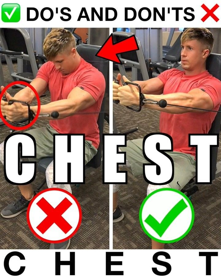 Do S And Don Ts For Chest Save This Video For Chest Day Exercise 1 Elbows Locked Seat Cable Machine Workout Strength Workout Workout Challenge
