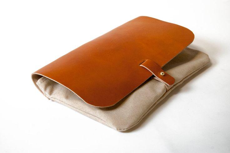 Clutch purse - Waxed Canvas, Leather,Natural, Saddle Tan, Veg-tan. $95.00, via Etsy.