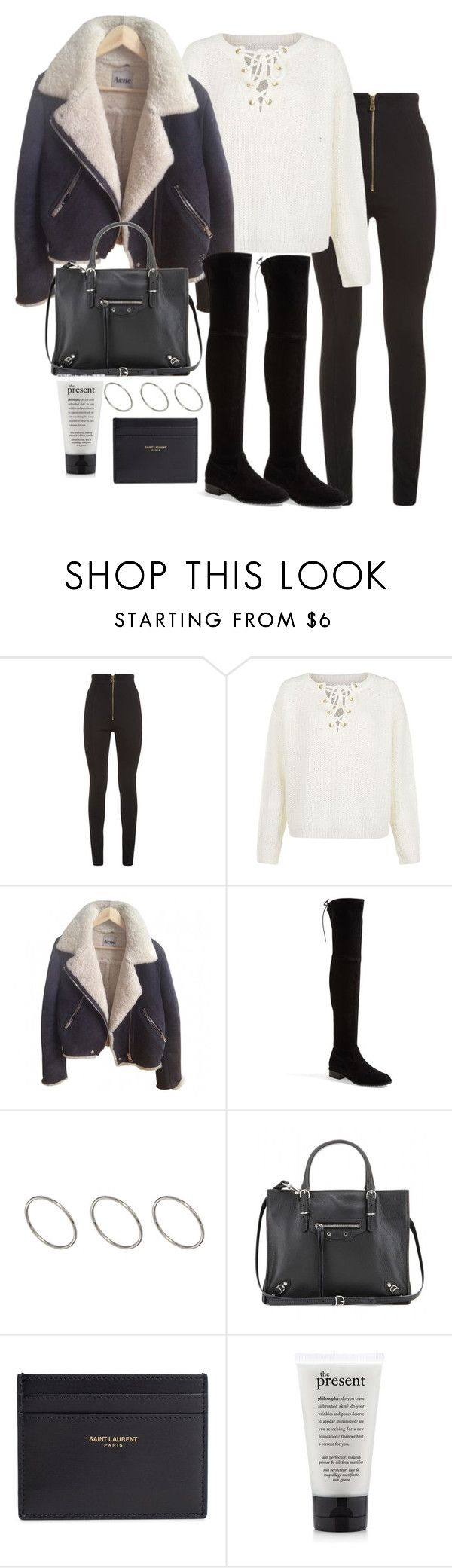 """""""Untitled #2735"""" by theeuropeancloset ❤ liked on Polyvore featuring Balmain, First & I, Stuart Weitzman, ASOS, Balenciaga and Yves Saint Laurent"""