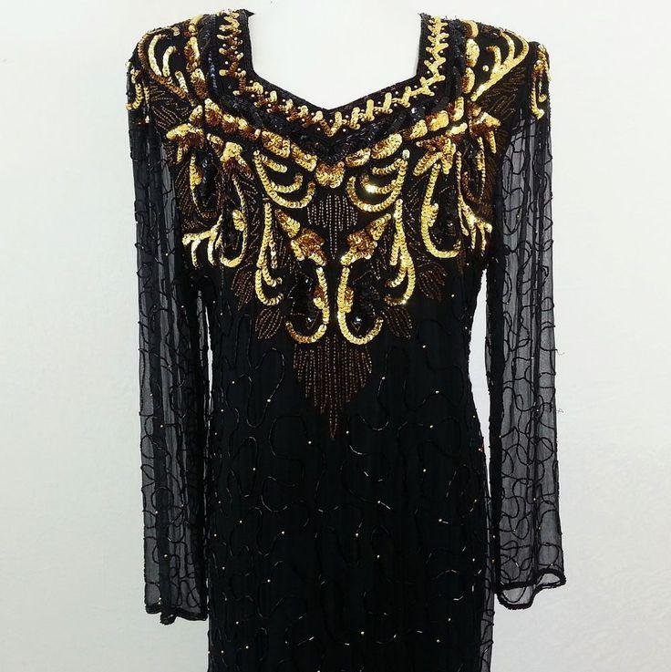 Gown Dynasty Sequin & Beaded  SZ 8 Lawrence Kazar New York Black Gold Sheer  #LaurenceKazar #Sheath #Formal