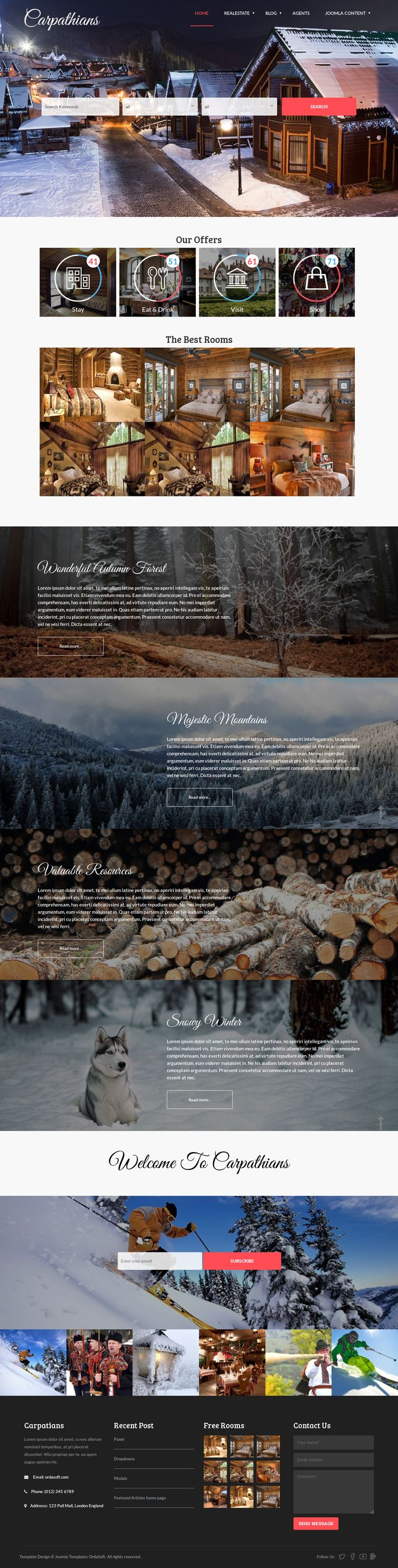Carpathians is an extremely flexible, powerful and responsive real estate website template with integrated Joomla solution for managing properties and real estates. This Joomla real estate template will be suitable both for a single hotel, resort, ski in/ski out condos, private homes, townhouses, lodging, accommodations and for real estate website portals where agents and brokers can submit the properties.