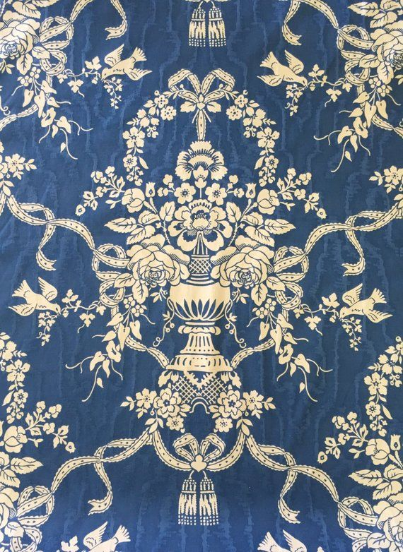 Blue Floral Damask Upholstery Fabric By The Yard Damask