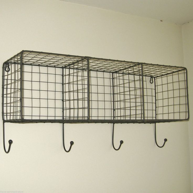 With a grey wire finish these shelves are great for use in the bathroom / kitchen / bedroom or just about anywhere ! This industrial/retro inspired shelving provides useful and stylish storage. It has the added feature of having 4 hooks. | eBay!