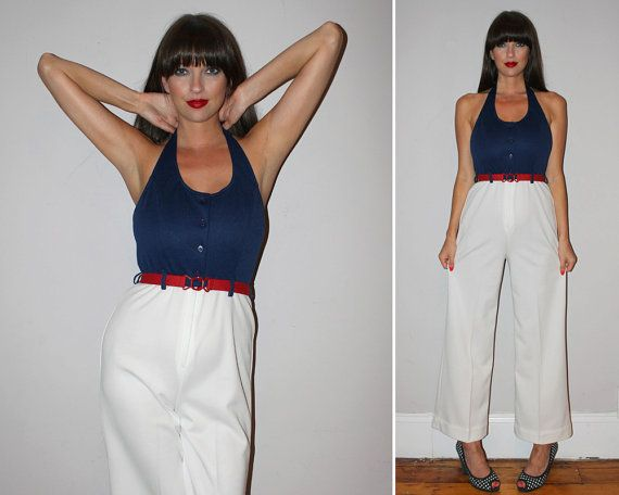 Vintage 70s NAUTICAL Jumpsuit / Navy Blue  by PastLivesofNewYork