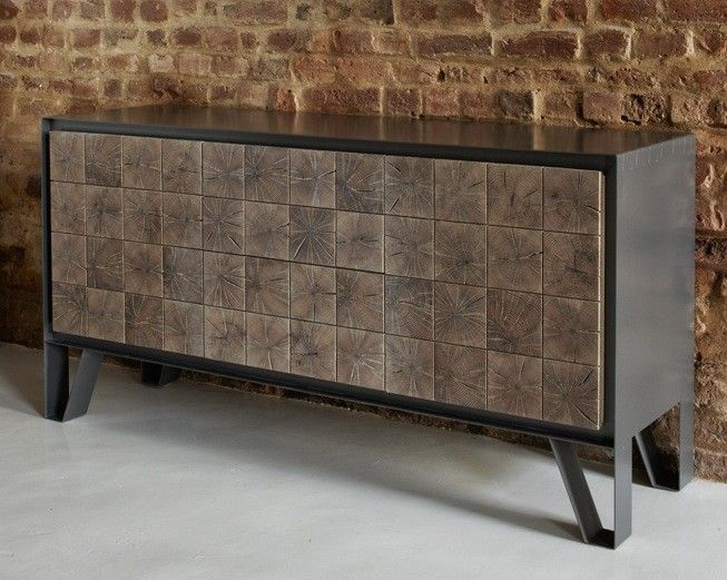Beautiful sideboard.  The metal sideboard is composed of panels cut from the end grain of an oak log.
