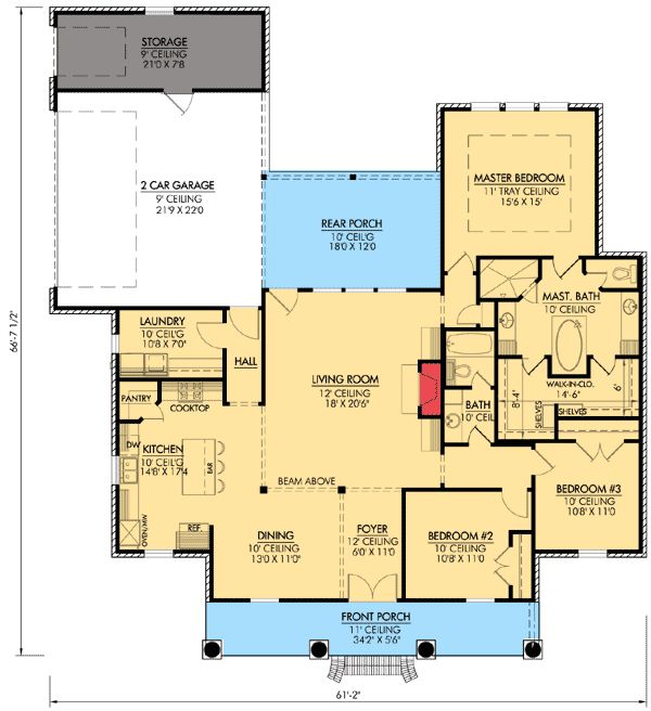 Plan W56349SM:  Good front porch Accessible guest bathroom Needs larger or separate masher bedroom closets