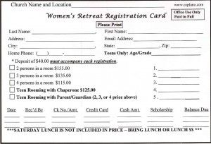 Retreat Registration Form Sample