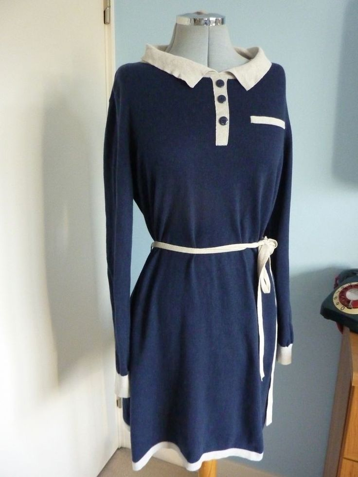 S16 DORETHY PERKINS Shift 60s Mod Style Peter Pan Navy Cotton Jumper Dress